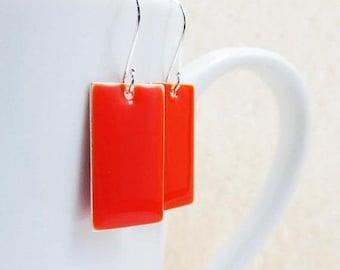 40% OFF Dangle Drop Earrings - Scarlet Red-Orange Epoxy Enamel Rectangles - Sterling Silver Plated over Brass (F-7)