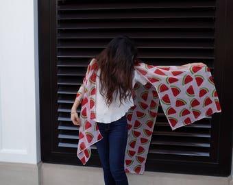 Best selling items,  Kimono cardigan,  boho clothing, birthday gift for women, watermelon print Scarf, PiYOYO