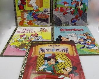 Vintage Set of Mickey Mouse, Minnie Mouse, Donald Duck Disney Little Golden Books, Vintage Collectible Disney Little Golden Children's Books