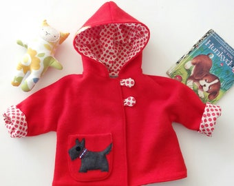 red coat scottie westie dog toddler lined wool jacket