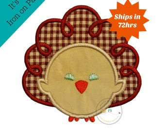 Tan and maroon Thanksgiving turkey iron on applique- No sew machine embroidered holiday turkey applique-DIY boutique fashions- ready to ship