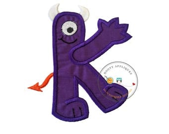 Monster letter K applique, initial embroidered patch, iron on applique letter for kids, iron on letter embellishment, iron on monogram patch