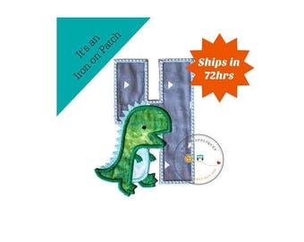 ON SALE NOW Dinosaur birthday number four machine embroidered patch, fast shipping iron on Dino birthday applique, green and gray number 4