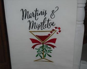 Martinis and Mistletoe Christmas Cocktail Flour Sack Towel. Machine Embroidered.