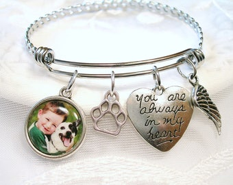 Pet Memory Bracelet Dog Memory Jewelry Loss of Pet Photo Bracelet Dog Lover Gift for Cat Lover Paw Print Charm Pet Memory Always in My Heart