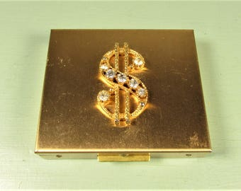 Petty Cash Compact - Vintage Dollar Sign Change Money Gold Tone