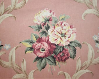 Pink Floral Bark Cloth Fabric - Vintage Dusty Rose Green Yellow Blue Pastel Cutter