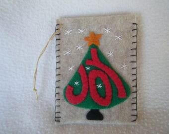 Beige Felt Joy Christmas Tree Envelope Style Ornament/Gift Card Holder