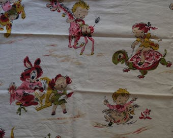 Vintage Children's Fabric 1950s Nursery Rhymes Childs Play Linen