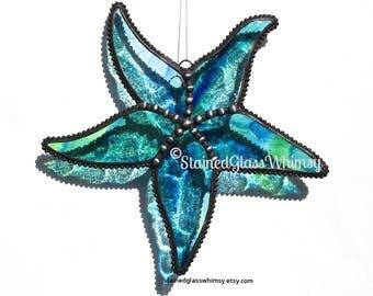 Stained Glass STARFISH Suncatcher - Wispy Cobalt Blues & Greens on Clear, Decorative Soldering -- USA Handmade Original, Blue Sea Star