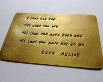 Metal Wallet Insert, Custom Wallet Insert, Personalized Wallet Card, Engraved Wallet Card, Wedding Vow Card, Anniversary, Stamped Love Note