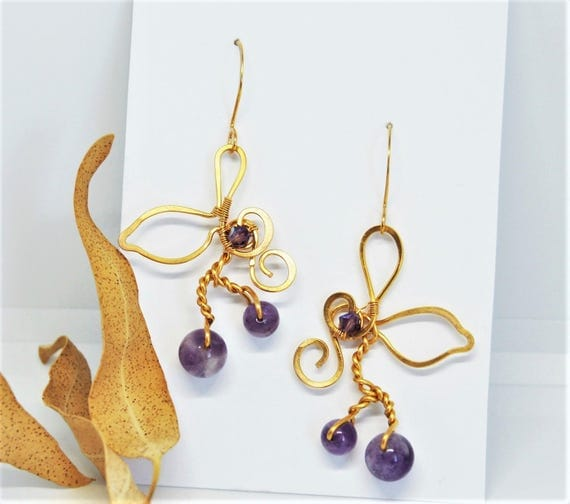 Gold amethyst earrings gold plated wire Dangle purple gemstone Wedding bridal nature jewelry Bridesmaids gift for women
