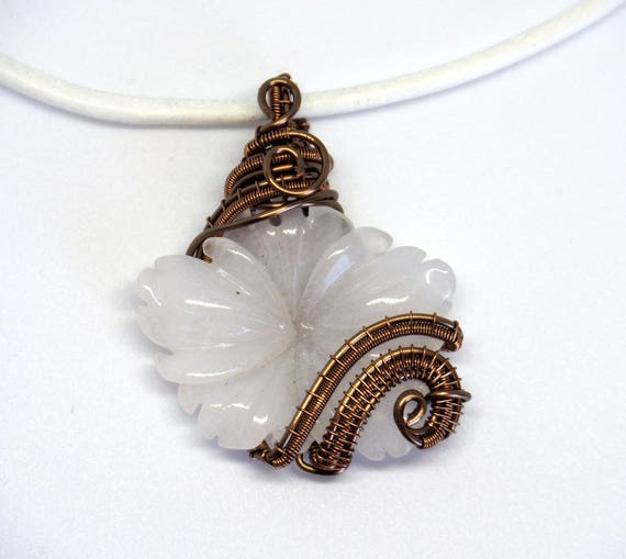 White Jade flower pendant ~ Wire wrapped jewelry