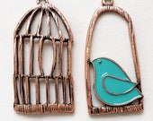 large new stock copper tone metal bird cage and blue enamel perched bird earring components--lot of 2