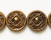vintage eco friendly antiqued gold tone metal Oriental coin inspired design buttons--matching lot of 4
