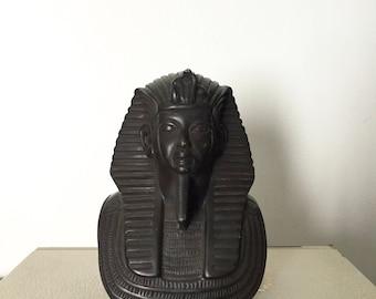 Vintage Handcarved Ironwood Pharaoh bust/ king tut bust/ Egyptian Pharaoh Bust