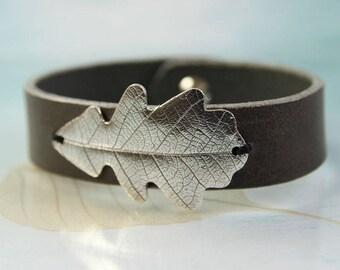Silver Oak Leaf Bracelet - Leather Bracelet and Oxidised Sterling