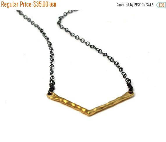 20% off. Chevron Necklace. Mixed Metals. Modern Minimal V Necklace.  Gold, Silver, Black Silver, You Can Choose. NM-2028-2