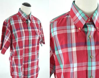 SUMMER SALE Vintage 80s Red and Blue Casual Unisex Plaid Shirt - Short Sleeve Button Up Cotton Blouse - Men's  Plaid- Boyfriend Plaid - Size