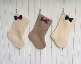 Burlap & Plaid Christmas Stocking With Rosettes OR Bow/Bow Tie- Red/Green/Plaid-Cabin Decor-Farmhouse-Rustic Chic