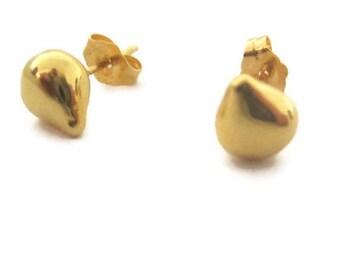 14K Solid Gold Studs, Teardrop Studs,  Earrings, Small Stud Earrings, Artisan Handmade  by  Sheri Beryl