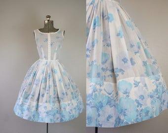 1950's Blue Floral Border Print Sun Dress / Size Small
