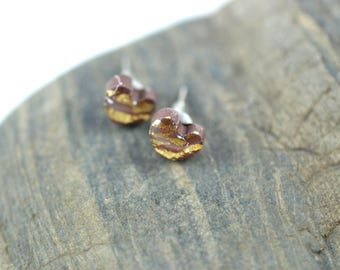 Brown Heart with Gold Leaf High Gloss Stud Earrings