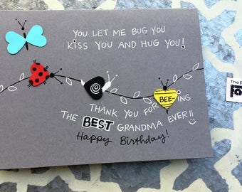 Birthday Card for Grandma - Bugs and Kisses