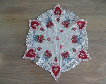 Vintage 50s hanky handkerchief, red white, hearts roses, Valentines Day gift, Mothers Day gift