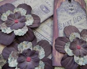 LARGE TAGS 3 - French Themed Double Layered Dimensional Paper Flowers Purple Pink