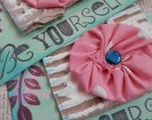 LARGE YOYO TAGS Set/2 - Remember yoyos? Charming Handstamped Embellished Aqua Blue Pink Teal