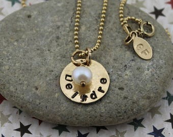 Block Name Pendant in Gold Filled or Sterling Silver, w/Pearl Accent on 16 to 24-Inch Gold-Filled or Sterling Silver Bead or Box Chain