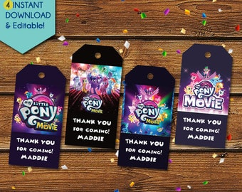 NEW! My Little Pony Movie Thank You Tags, My Little Pony Movie Party Favors, My Little Pony Movie Favor Tags, MLP Movie Birthday Tag