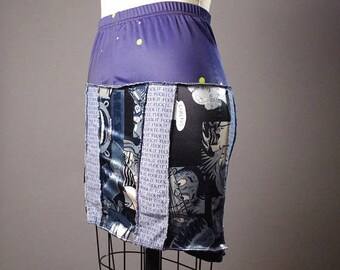 ON SALE SUMMER Sale - Upcycled Summer Skirt - Summer MIni Skirt - Patchwork Skirt - Comic Book - Funky - Street Wear
