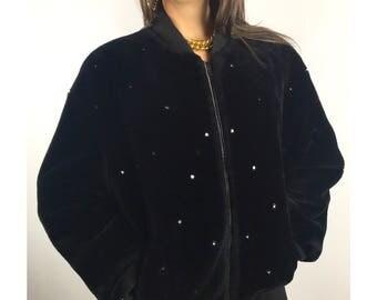 Vintage DONNY BROOK black faux fur bomber jacket with crystal studs