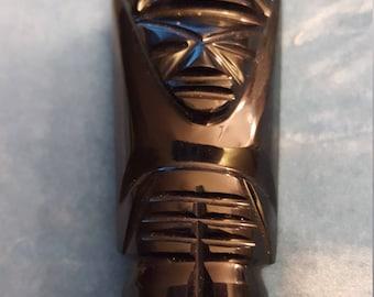 Fantastic Vintage Onxy Carved Tribal Figurine Pin