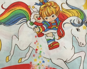 Rainbow Brite Cotton Twin Fitted Bed Sheet, Vintage Hallmark 1983, Great Condition