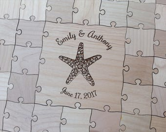35 Pieces Custom Wedding puzzle - Wedding Guest Book Puzzle -Guest Book Alternative