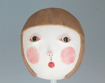 Ceramic sculpture, Ceramic wall mask, Original hand built mask, Stoneware, Ceramic art. Girl mask.