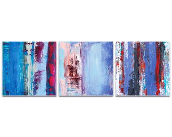 Abstract Wall Art 'Urban Triptych 1 Large' by Celeste Reiter - Urban Decor Contemporary Color Layers Artwork on Metal or Plexiglass