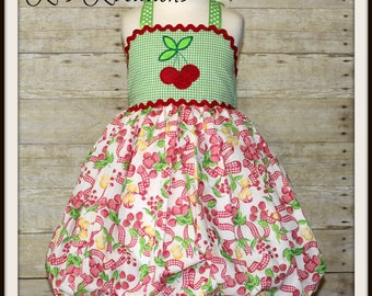 Summer Boutique Halter Dress, Cherry Lemonade Stand Picture Dress, Custom Fruit Applique Dress, Size 4 5, RTS