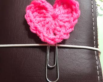 Bright Summer Pink Crocheted Heart Planner Clip