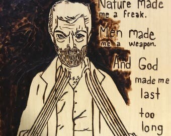 Logan quote woodburned drawing