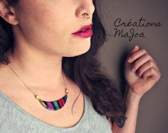 Collier minimaliste en  pâte  polymère // Minimalist necklace in multicolour polymer clay