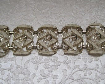 Silver And Cream Wide Ornate Bracelet, 1950's, Mid Century