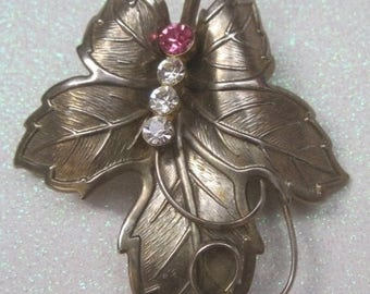 Gold Leaf Brooch With Rhinestone Accents , 1940's, Art Moderne