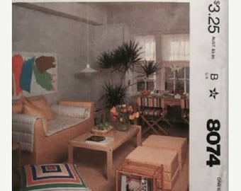 ON SALE McCall's 601/ 8074 First Apartment Pattern, Directors Chair Cover, Pillow, Couch Cover and Futon Pad, Etc., UNCUT