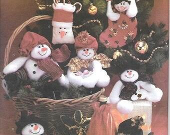 ON SALE Simplicity 4934 Straw Stockings Christmas Sewing Pattern, Stuffed Snowmen Decorations, Snowman, UNCUT