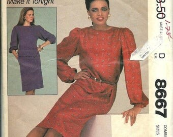 ON SALE Easy McCall's 8667 Misses Dress or Top and Skirt Pattern, Size 8-10-12 UNCUT