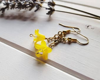 Hannah - Yellow Flower Earrings, Ready to Ship